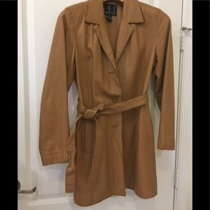 Leather tie coat